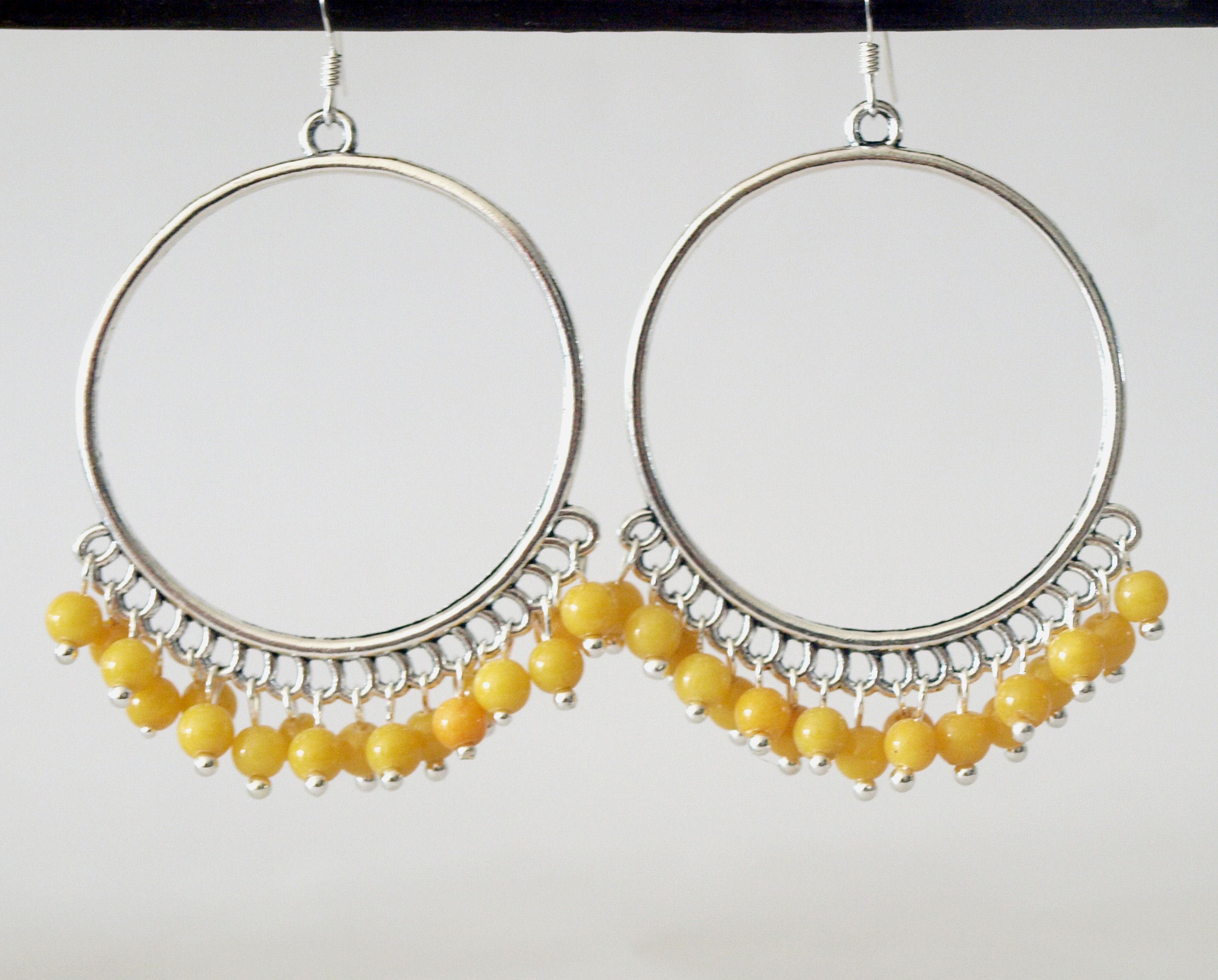 Large Hoop Yellow Earrings Chandelier